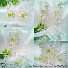 Декор предметов Свадьба Лепка Бокалы Valery и золотая бутылка Бусинки Пластика фото 3