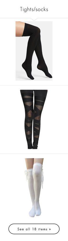"""Tights/socks"" by kakejo ❤ liked on Polyvore featuring intimates, hosiery, socks, tights, black, accessories, commando hosiery, thigh high hosiery, seamless socks and thigh high socks"