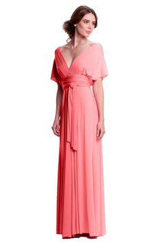 Sakura Convertible Long Gown - Peach-Pink Coral $158.00