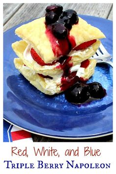 I'm usually all about the chocolate dessert, but this puff pastry recipe with berries is just amazing!  Flaky layers of puff pastry, whipped cream and berries make this a quick, easy and super delicious dessert - perfect as a 4th of July dessert OR pretty much any other day of the year!  | www.OurLittleEverything.com