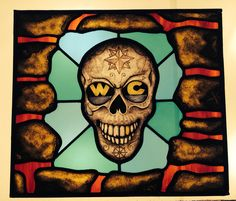 Deep sea diver sugar skull #stained glass #skulls