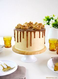 This delicious peanut butter celebration cake has a peanut butter cake sponge frosted with peanut butter frosting and drizzled with a peanut butter caramel sauce! So delicious and perfect for any celebration! Peanut Butter Cake Filling, Peanut Butter Recipes, Creamy Peanut Butter, Cupcake Recipes, Cupcake Cakes, Snack Recipes, Dessert Recipes, Cupcakes, Smooth Cake