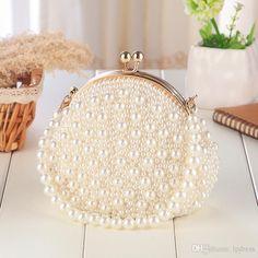 2017 Luxury Bridal Handbags New Arrival Pearls Pearls Bridal Hand Bags Cheap Wedding Accessories Bridal Clutches - - Bridal Clutch, Wedding Clutch, Beaded Purses, Beaded Bags, Vintage Purses, Vintage Handbags, Diy Purse Frame, Bridal Accessories, Bag Accessories