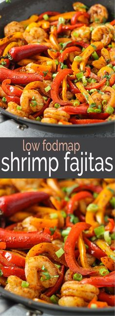 Delicious fajitas without onions or garlic? It's possible with this quick and easy, Mexican-inspired Low Fodmap Shrimp Fajitas recipe!