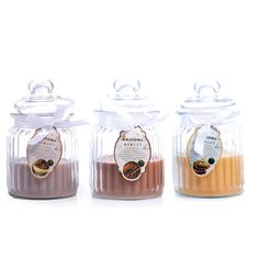 Scented candles in glass jars, perfect gift ideas