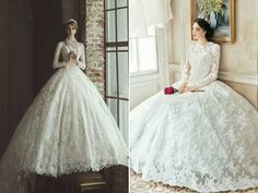 Timeless Elegance! 30 [Beautiful lace, particularly the gown on the left.] Swoon-worthy Lace Wedding Dresses For Classic Brides!