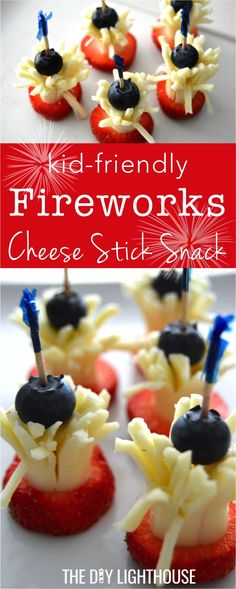 kid friendly fireworks cheese stick snack | Cute Fourth of July or Memorial Day snack idea for kids or adults | Appetizer or easy picnic or potluck food to bring for red white and blue fun | Fruit and cheese on a stick for Fireworks this 4th of July