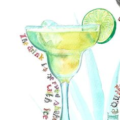 Margarita cocktail Archival watercolor by ArtistWatercolor