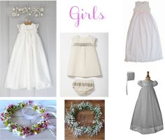Girls Baptism Christening Outfit Ideas Dresses Wreaths Flowers inspiration moodbaords
