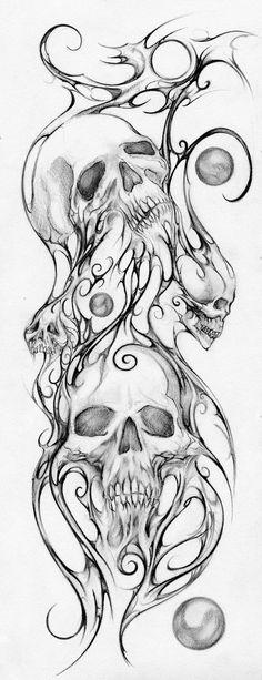 SKULLS Print Mixed Media Drawing By Teresa by 303NorthStudio, $20.00