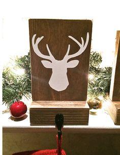 Stocking holder, reclaimed wood, deer mantle decor, mantle stocking, rustic…