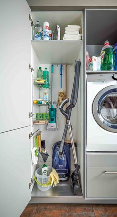Utility room storage ideas: Tall units with super convenient shelves will provide lots of storage and ensure everything is kept tidy and close to hand – it's also great for concealing items you don't want on display. Tall units like this is perfect for storing ironing boards and standing/stick vacuum cleaners. (Photo: Schuller)