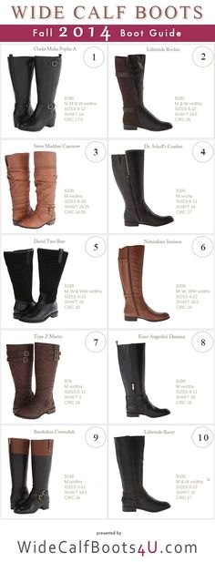 10 Wide Calf Boots Styles For Fall Guid When shopping for the right pair of boots, enjoy the hunt! This list of 10 different wide calf boots will definitely help with choosing the right kind.  When shopping online, make sure that you measure your calf size and your feet. You need to know your right size and you can do this by measuring your calf's thickest area so you will have an idea of the extra width you need. #widecalfboots #plussize #winterboots
