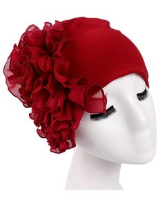 96e28e11f2ac8 Women s Super Soft Solid Color Flower Knit Beanie Hat - Wine - CG183XRS927  - Hats  amp