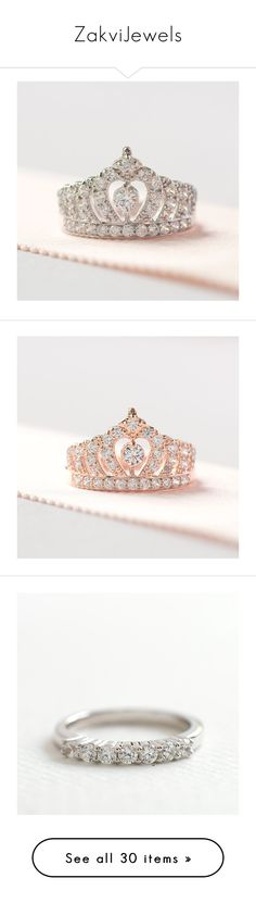 """ZakviJewels"" by zakvijewels on Polyvore featuring jewelry, rings, engagement rings, crown ring, crown jewelry, crown engagement rings, sterling silver crown ring, sterling silver jewelry and rose gold jewellery"
