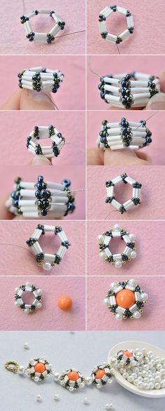 special beads bracelet like it LC Pandahall com w Beaded Beads, Beaded Jewelry Patterns, Beaded Rings, Beads And Wire, Beading Patterns, Beaded Bracelets, Beaded Crafts, Jewelry Crafts, Handmade Bracelets