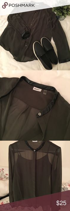 dknyc • like new leather trim blouse smooth faux leather circles the neck line and cuffs. comfortable free flowing fit. includes separate tank for coverage. dark forest green color. like new condition! slightly wrinkled from storage. make an offer! DKNYC Tops Blouses