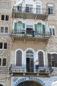 Apartment building over Allenby Restaurant in Haifa (they have yummy hummus) — at Wadi Nisnas - Haifa.