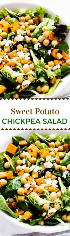 This Sweet Potato Chickpeas Salad makes a delicious healthy side dis or fabulous vegetarian main course salad. via @wendypolisi