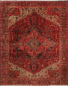 "Heriz Persian Rug, Buy Handmade Heriz Persian Rug 9' 0"" x 11' 6"", Authentic…"