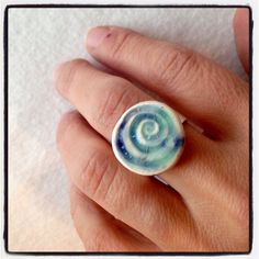 Inspired by the blue colors of Greece beaches Aqua Ring Silver plated adjustable Ecofriendly Handmade clay base lead free nickel free by CraftyleftDee