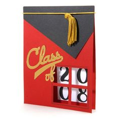 Celebrate a member of the graduation class with this unique window card. Each number of the graduation year displays in the four cut-outs. Card Making Inspiration, Making Ideas, Cute Cards, Diy Cards, Graduation Cards Handmade, Graduation Ideas, Graduation Letters, Preschool Graduation, Window Cards