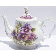 Fine Bone China Teapot - Pansy Chintz