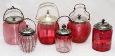 Victorian Cranberry Glass Biscuit Barrels &another Jar