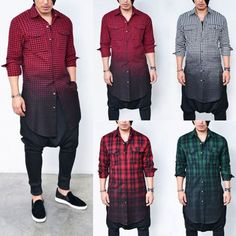 Mens Long Gradation Oil Wash Checker Wool Flannel Shrit By Guylook.com