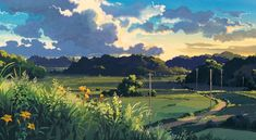 "ghibli-collector: ""Cloud Strewn Skies Of My Neighbor Totoro - Art Director Kazuo Oga "" Studio Ghibli Background, Animation Background, Art Background, Landscape Art, Landscape Paintings, Arte Cyberpunk, Studio Ghibli Art, Environment Concept Art, Anime Scenery"