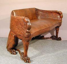 carved wood bench half eagle and half lion