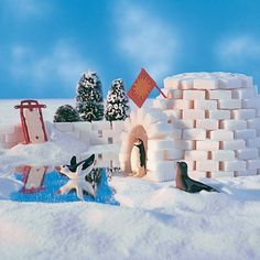 Sugar-Cube Igloo school projects, craft kids, idea, diy crafts, sugar cubes, christmas villages, gingerbread houses, winter craft, winter activities