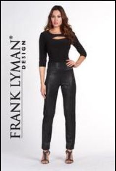 Frank Lyman NEW Women's Sz 6 Black Sparkle Knit Pants Stretch Straight Leg 65313  | eBay