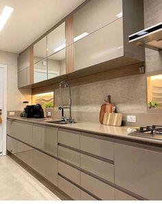 Kitchen Room Design, New Kitchen Designs, Modern Kitchen Design, Home Decor Kitchen, Kitchen Interior, Corner Shelves Kitchen, Kitchen Flooring, Kitchen Cabinets, Kitchen Layout Plans