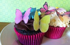 EDIBLE Butterflies - The Original Wedding Cupcake Toppers and Cake Decor - Small Pink, Yellow, Orange - PRECUT and Ready to Use. $9.95, via Etsy.