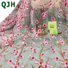 Qjh последние Китай Стиль сливы филиалов вышивкой кружевной ткани в африканском стиле французский чистая платье с фатиновой юбкой Кружева Ткань