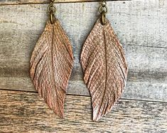 Leather earrings, Leather feather earrings , feather earrings , hand crafted leather earrings , genuine leather feathers, Boho earrings