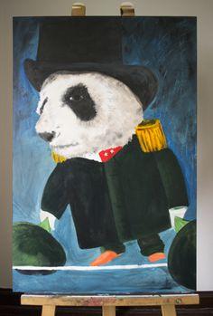 7/ 7    'BALANCERENDE PANDA'  Acryl op hout / Voor en achter vernist 30 cm breed - 90 cm hoog - 1 cm dik  Kunstenaar: Jennifer Wils - 6PUG  STARTBOD = 20 euro
