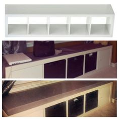 Bookcase ideas on pinterest ikea hacks dining bench and for Ikea expedit storage bench