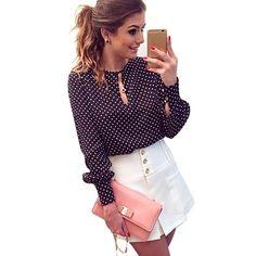 Comprar 2018 Mulheres Blusa Chiffon Oco Manga Comprida Fenda Aberta Sexy  Casuais camisa Plus Size Mulheres 45d5975472b9a