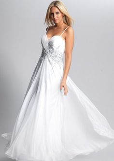 Silver Sequin Waist Long Ivory Pleated Prom Dress