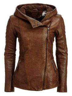 Stylish Hooded Long Sleeve Solid Color Jackets - Look Fashion Leather Jacket With Hood, Brown Jacket, Leather Hoodie, Leather Blazer, Brown Blazer, Ladies Brown Leather Jacket, Brown Leather Jackets, Hooded Leather Jacket, Leather Jackets For Women