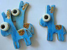 Blue Donkey Ceramic Ornament by eudoxiahandmade on Etsy