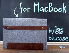 """13"""" MacBook Air Case. Macbook 15"""" Pro case. MacBook case with leather flap and button closure. MacBook 11"""" sleeve. Wool felt laptop case"""