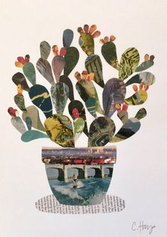 Print of an original art prickly pear cactus collage. Created with vintage postcards and magazines. Inspired by the desert and wanderlust. Collage Foto, Paper Collage Art, Paper Art, Collage Artwork, Nature Collage, Collage Illustrations, Art Collages, Collage Drawing, Canvas Paper