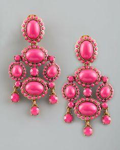 Cabochon Drop Clip Earrings
