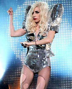 Mother Monster looks like a walking disco ball in this glinting number at the Nokia Theatre L.A. Live on December 23, 2009 in Los Angeles.