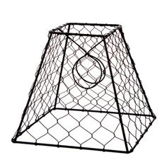 Lamp shade frame square steel wire hand made in nyc lamp shade clip onchickenwirelampshadesquareblack8x8inches greentooth Images