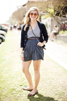 love the ease of a jersey skirt, simple belt, and cardigan