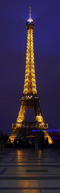 Beautiful night photography of the Eiffel Tower in Paris, France.